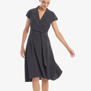 MM Lafleur Navy Striped Aurelia knee length dress